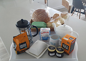 Fresh welcome pack breakfast for holiday home guests
