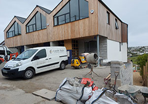 Cornish maids van on building site